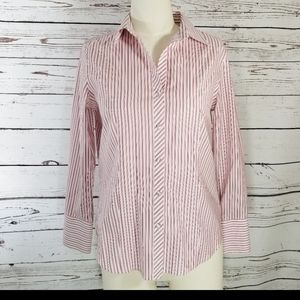 TALBOTS red STRIPED BUTTON UP BLOUSE 10